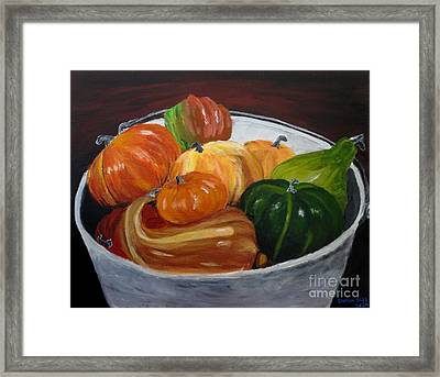 Bucket O' Gourds Framed Print by CE Dill