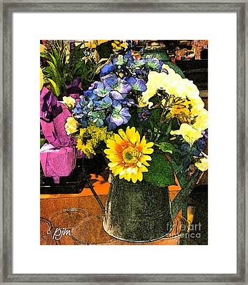 Framed Print featuring the photograph Bucket Of Flowers by Phil Mancuso