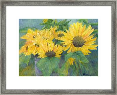 Bucket Of Sunflowers Colorful Original Painting Sunflowers Sunflower Art K. Joann Russell Artist Framed Print