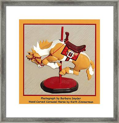 Bucking Bronco Carousel Horse Framed Print by Barbara Snyder and Keith Zimmerman