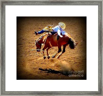 Bucking Broncos Rodeo Time Framed Print by Susan Garren