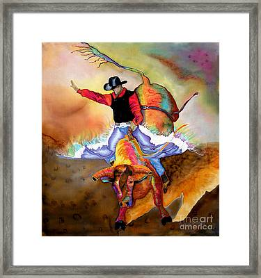 Bucking Bull Framed Print by Anderson R Moore