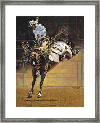 Cowboy Bucking Bronco Framed Print