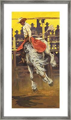 Bucking Rodeo Horse Framed Print by Don  Langeneckert