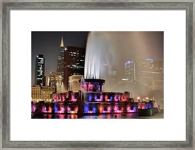 Buckingham Fountain Aglow Framed Print by Frozen in Time Fine Art Photography