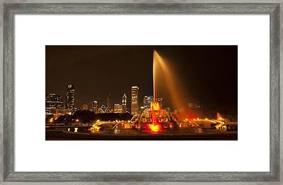 Buckingham Fountain Panorama Framed Print by Andrew Soundarajan