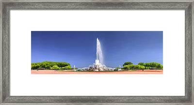 Buckingham Fountain Panorama Framed Print by Christopher Arndt