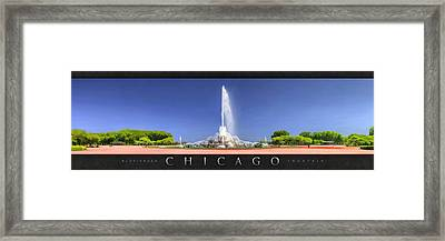 Buckingham Fountain Panorama Poster Framed Print by Christopher Arndt