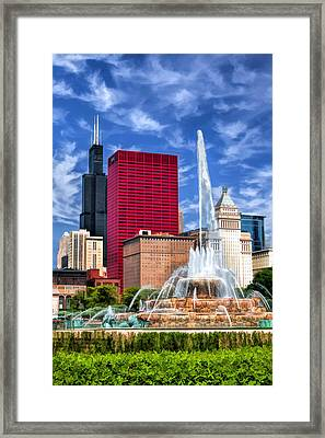 Buckingham Fountain Sears Tower Framed Print