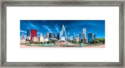 Buckingham Fountain Skyline Panorama Framed Print