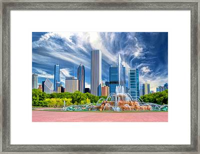 Buckingham Fountain Skyscrapers Framed Print
