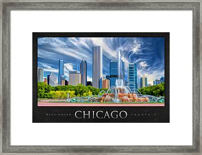 Buckingham Fountain Skyscrapers Poster Framed Print by Christopher Arndt