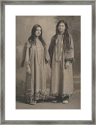 Framed Print featuring the photograph Buckskin  Beadwork Native American Girls by Paul Ashby Antique Image