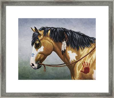Buckskin Native American War Horse Framed Print