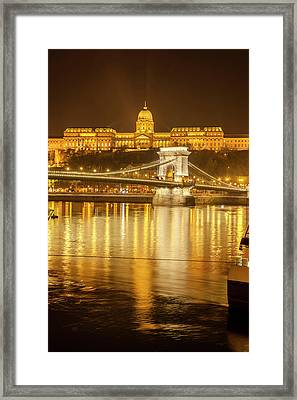 Buda Castle Chain Bridge Nightscape Framed Print by Tom Norring