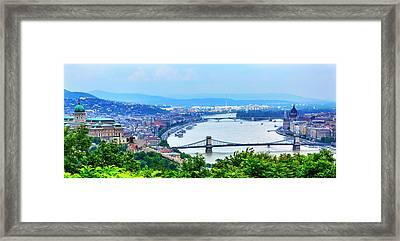 Buda Palace, Parliament Chain Bridge Framed Print