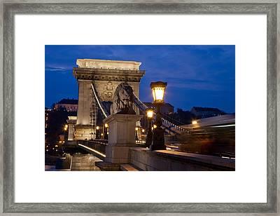 Budapest Bridge With Lion Framed Print by Matthew Bamberg