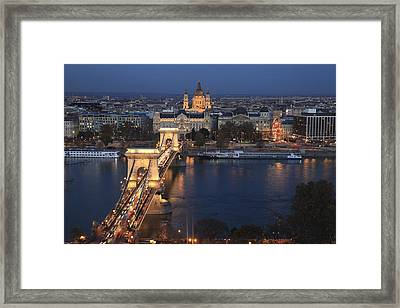 Budapest Chain Bridge At Night Framed Print