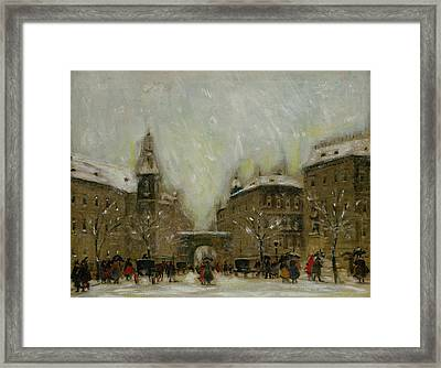 Budapest In The Snow Framed Print by Antal Berkes