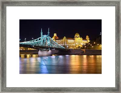 Budapest Night Bridge Framed Print by Ioan Panaite