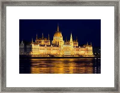 Budapest Parliament At Night Framed Print by Artur Bogacki