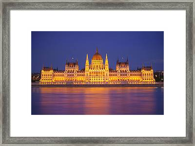 Budapest Parliament At Night Framed Print by Ioan Panaite