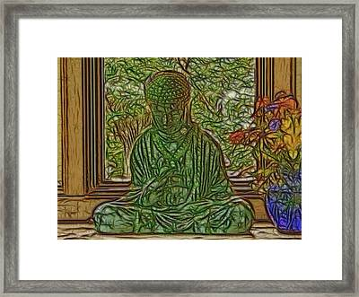 Buddha In Window With Blue Vase Framed Print
