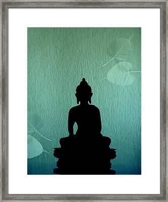 Buddha And Bodhi Leaves Framed Print by Niteen Kasle