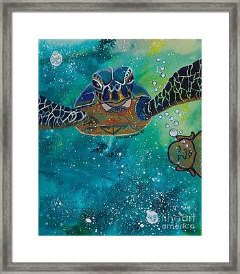 Buddha And The Divine Sea Turtle No. 1372 Framed Print by Ilisa Millermoon
