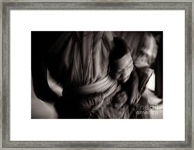 Buddha -boys Will Be Boys - Black And White Version Framed Print by Dean Harte