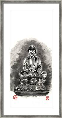 Buddha Buddhist Sumi-e Tibetan Calligraphy Original Ink Painting Artwork Framed Print by Mariusz Szmerdt