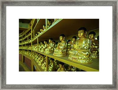 Buddha Collection Underneath The Golden Framed Print by Michael Runkel