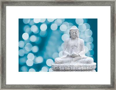 Buddha Enlightenment Blue Framed Print by Hannes Cmarits