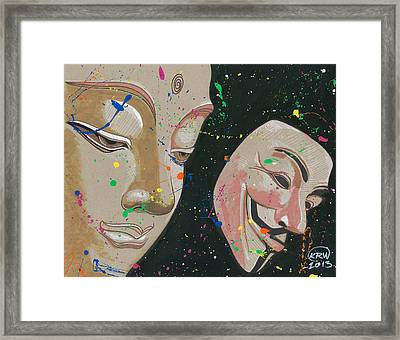 Buddha Fawkes Framed Print by Kyle Willis