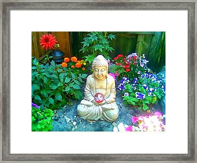 Framed Print featuring the photograph Backyard Buddha by Steed Edwards