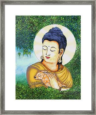Buddha Green Framed Print by Loganathan E