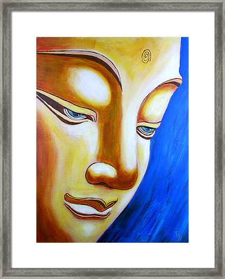 Framed Print featuring the painting Buddha Head Gazing Art by Bob Baker