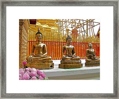 Buddha Images At Wat Phrathat Doi Sutep In Chiang Mai-thailand Framed Print