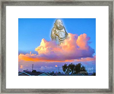 Framed Print featuring the painting Buddha In The Clouds Of Suburbia by Gregory Dyer
