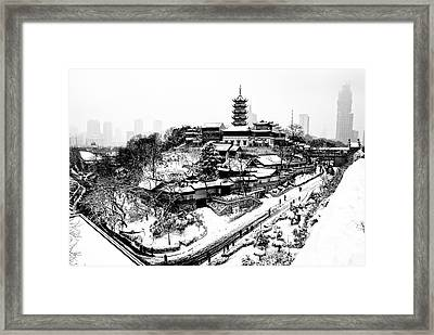 Buddha - Jiming Temple In The Snow - Black-and-white Version  Framed Print