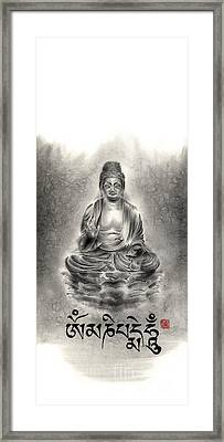 Buddha Mantras Mantra Buddhist Sumi-e Tibetan Calligraphy Original Ink Painting Artwork Framed Print by Mariusz Szmerdt