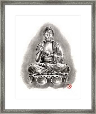 Buddha Medicine Buddhist Sumi-e Tibetan Calligraphy Original Ink Painting Artwork Framed Print by Mariusz Szmerdt
