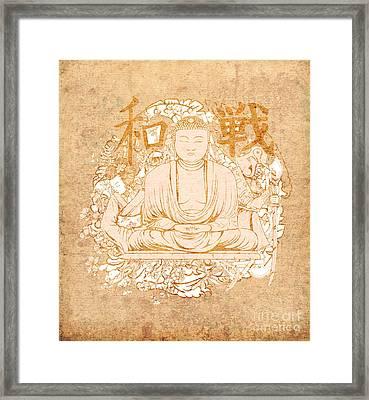 Buddha Painting Antique Framed Print