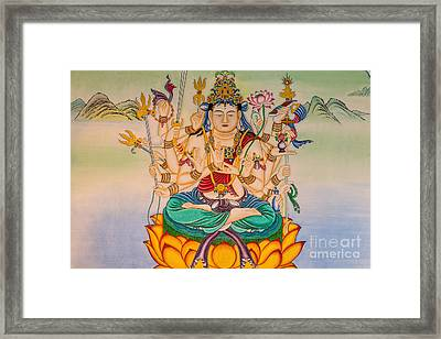 Buddha Painting On The Wall Framed Print by Tosporn Preede