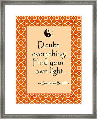 Buddha Quote Poster In Sunrise Colors Doubt Everything Framed Print by Scarebaby Design