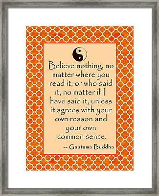 Buddha Quote Poster In Sunrise Colors Framed Print by Scarebaby Design