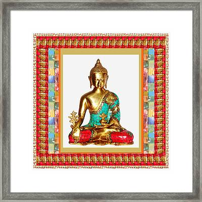Buddha Sparkle Bronze Painted N Jewel Border Deco Navinjoshi  Rights Managed Images Graphic Design I Framed Print by Navin Joshi