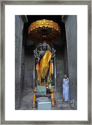 Buddha Statue At Angkor Wat Framed Print by Sami Sarkis