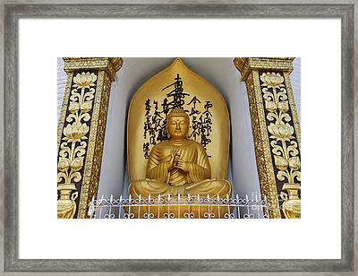 Buddha Statue At The World Peace Pagoda Pokhara Framed Print by Robert Preston