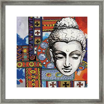 Buddha Tapestry Style Framed Print by Corporate Art Task Force